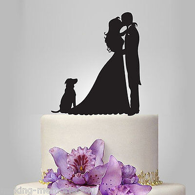 Our stunning silhouette Bride & Groom  and pet Wedding cake Toppers