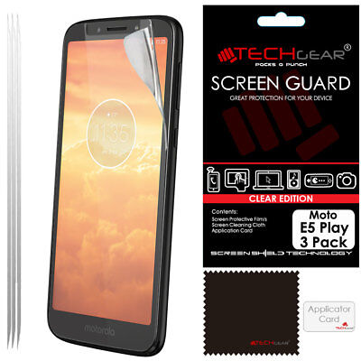 3 Pack of TECHGEAR CLEAR Screen Protector Guards For Motorola Moto E5 Play