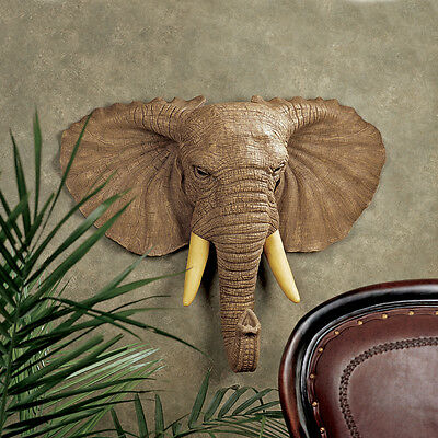 Elephant Head Trophy Exotic African Pachyderm Replica Wall Sculpture