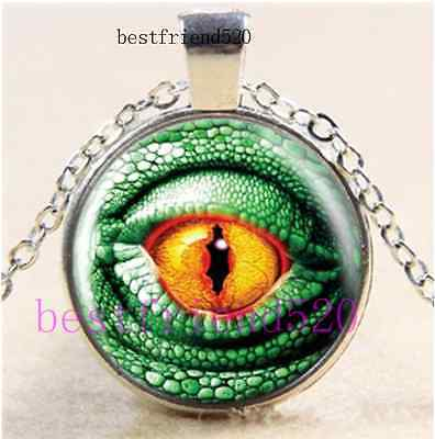 Green Dragon Eye Cabochon Glass Tibet Silver Chain Pendant Necklace