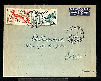 11995-TOGO-AIRMAIL COVER LOME to PARIS (france) 1949.WWII.FRENCH colonies.