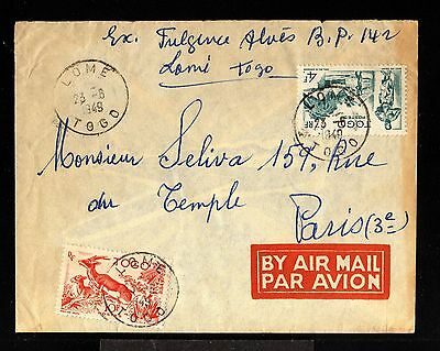 11996-TOGO-AIRMAIL COVER LOME to PARIS (france) 1949.WWII.FRENCH colonies.