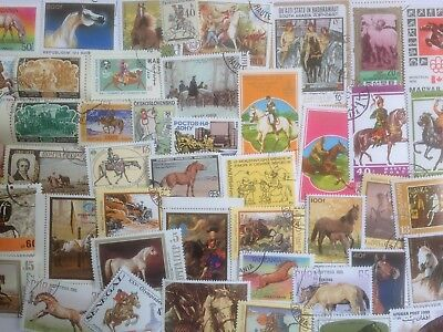 500 Different Horses on Stamps Collection