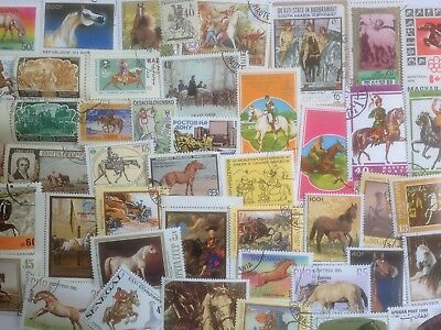 1000 Different Horses on Stamps Collection
