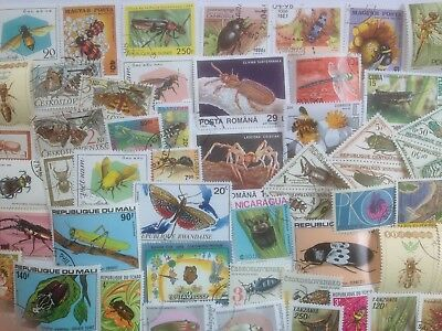 200 Different Insects/Bugs on Stamps Collection