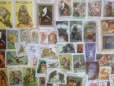 100 Different Monkeys/Apes on Stamps Collection