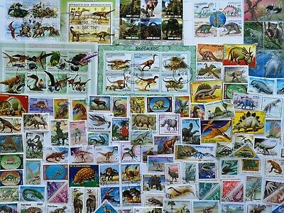 200 Different Prehistoric Animals/Dinosaurs on Stamps Collection