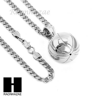 """316L Stainless Steel Basketball 3D Heavy Pendant 24"""" Cuban Chain Necklace S240"""