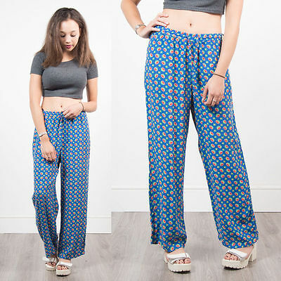 Vintage 90's Watermelon Print Loose Fit Trousers High Waist Casual Womens 14