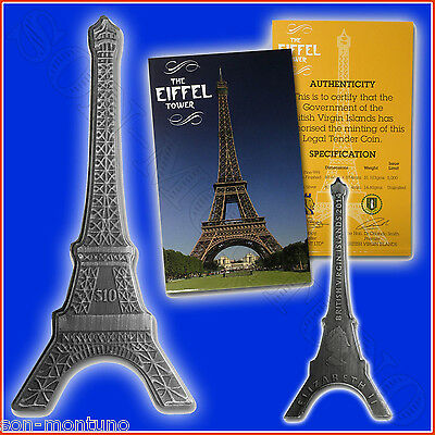 2014 - EIFFEL TOWER - 1 OZ SILVER ANTIQUE FINISH COIN $10 British Virgin Islands