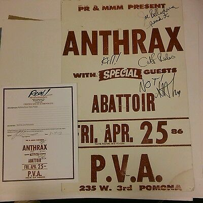 ANTHRAX Rare 1986 boxing style concert poster Signed by Joe and scott COA proof