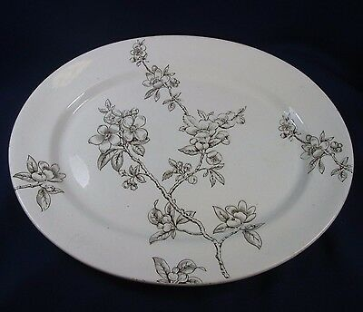 "Antique Brown Transfer Ware 16"" Platter Apple Blossom K & Co Mid-Late 1800s"