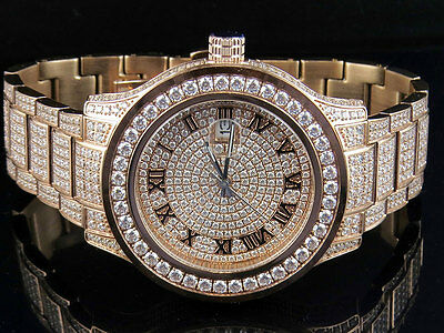 Mens Jewelry Unlimited Rose Gold Steel Simulated Lab Diamond Watch 45MM DJ-04