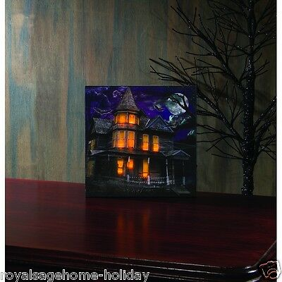 X46749 Lighted Darkness Falls Canvas Painting Picture Halloween Haunted House