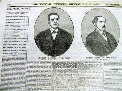 1868 newspaper VeryEarly illustrated Boxing MIKE McCOOLE as HEAVYWEIGHT CHAMPION