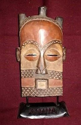 """Vintage 22.75"""" Antique Circa 1890-1930  African Mask with Custom Stand"""