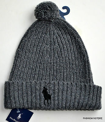 4153f333 Polo Ralph Lauren Cuff Hat Beanie Navy Gray White or Black Lg Pony Wool Fit  All