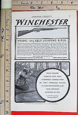 1905 WINCHESTER 32 & 35 cal Model 05 Self-Loading Rifle Carbine Magazine Ad 5002