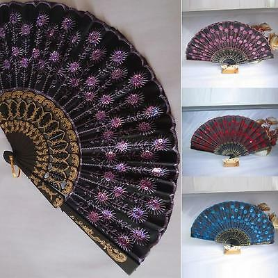 Chic Hand Sequins Held Wedding Party Decor Fan Embroidered Peacock Tail Folding