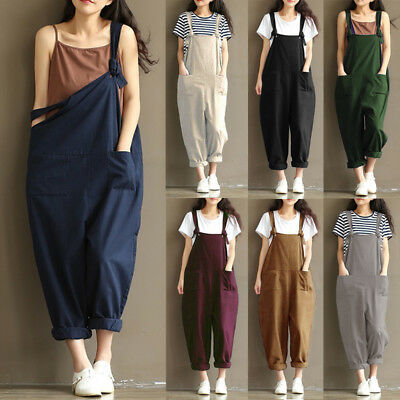 Zanzea Women Sleeveless Loose Jumpsuit Strappy Dungaree Bib Pants Long Overalls