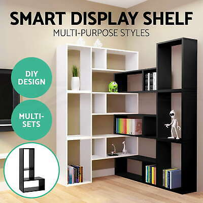 Display L Shape Cube Shelf DIY Sidetable Cabinet Storage Corner Bookshelf Ladder