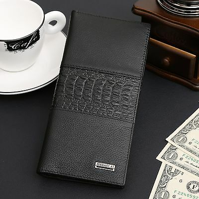 Mens Genuine Leather Long Bifold Wallet ID Card Purse Checkbook Clutch Billfold