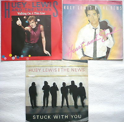 "HUEY LEWIS & THE NEWS - 3 Singles 7""   Stuck with you, Heart and soul; Walking.."
