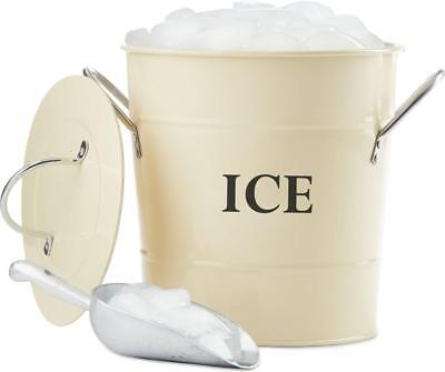 Andrew James Ice Bucket Vintage Cooler with Lid & Scoop Double Walled 3L