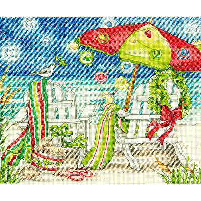 """Christmas Beach Chairs Counted Cross Stitch Kit-12""""X10"""" 14 Count"""