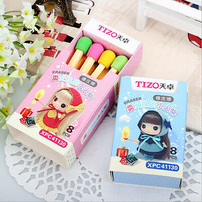 Funny Cute Match Rubber Pencil Eraser Set Stationery Elegant Children Party Gift