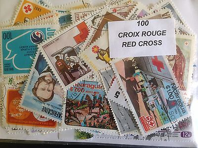 100 Different Red Cross on Stamps Collection