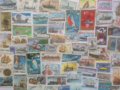 200 Different Ships/Boats on Stamps Collection