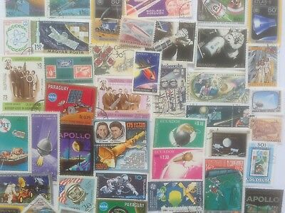 300 Different Space/Rockets/Cosmos on Stamps Collection