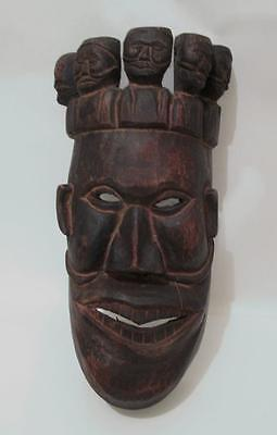 Old Handcarved Bamileke Cameroon African Helmet Tribal Mask Headpiece