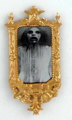 Dolls House Gothic Ornate Gold Framed Ghost Mirror 1:12 Halloween Accessory