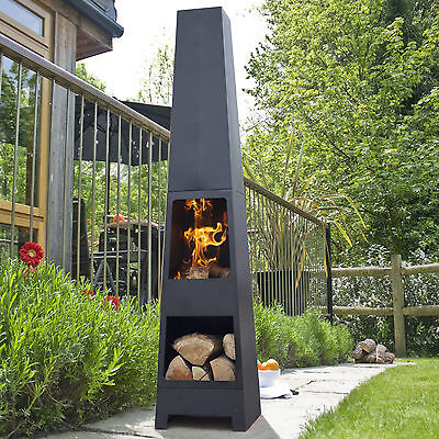 La Hacienda Malmo Black Steel Garden Chiminea + Log Store 150cm High