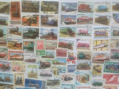 300 Different Trains/Railways/Railroad Stamp Collection