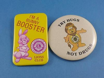 Lions Club Bunny Booster Rabbit Try Hugs Not Drugs Button Lot Pin Pinback