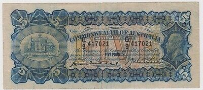 Banknote Australia 5 pound Kell Heathershaw KGV issue Cat R39 in VF, small tear