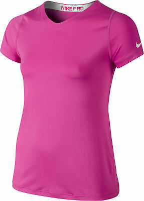 Nike Pro Core Short Sleeve Junior Running Top - Pink
