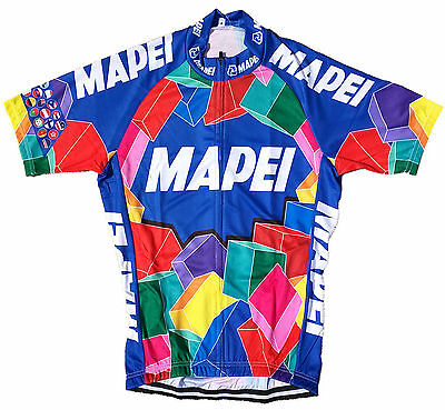 Mapei Retro Vintage Cycling Team Bike Cycle Short Sleeve Shirt Summer Jersey