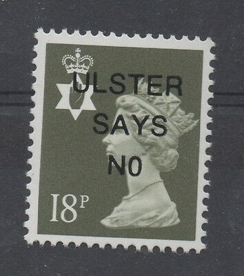 N. Ireland. 18p dp olive-grey. ULSTER SAYS NO o/print. Fine unmounted mint.