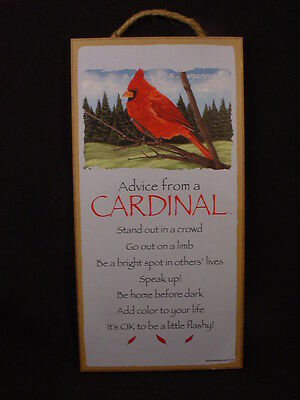 ADVICE FROM A CARDINAL wood INSPIRATIONAL SIGN wall HANGING PLAQUE Wild Red Bird
