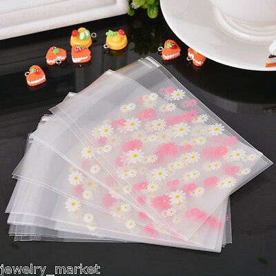 50PCs JM Daisy Flower Self Adhesive Seal Frosted Plastic Bag Cookie Storage Gift