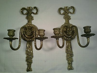 Antique Pair Of French Bronze Candleholders