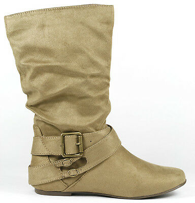 Taupe Beige Faux Suede w  Buckle Straps Mid Calf Flat Slouchy Women Boot Soda