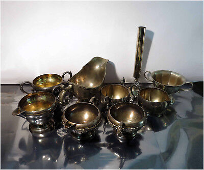 Lot Silver Plated Table Ware, Saucer, Creamer, Gravyboat