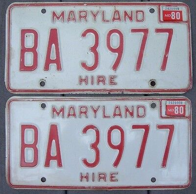 VINTAGE pair 1980 MARYLAND HIRE  license plates  BA 3977