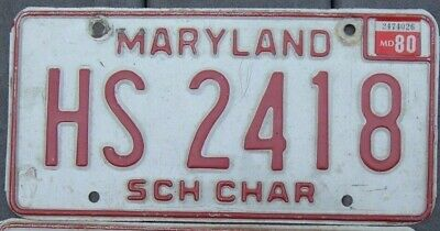 VINTAGE pair 1980 MARYLAND  SCHOOL CHARTER   license plates  HS 2418