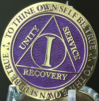 1 Year AA Medallion Purple Gold Plated Alcoholics Anonymous Sobriety Chip Coin